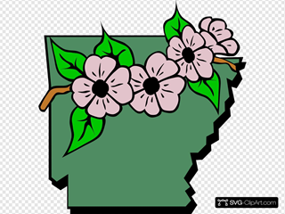 Arkansas Map And Flower