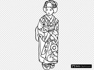 Geisha Woman Outline