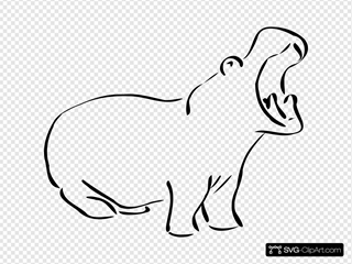 Yawning Hippo Outline