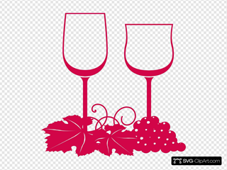 Wine Glasses Pink Clipart