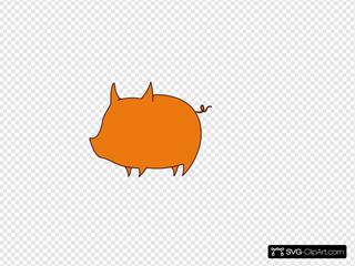 Pig Outline Orange
