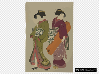 Geisha And A Servant Carrying Her Koto.