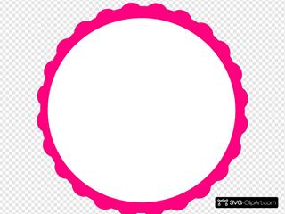 Pink Scallop Circle Frame