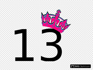 Pink Tilted Tiara And Number 13