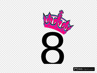 Pink Tilted Tiara And Number 8 SVG Clipart