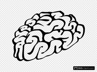 Brain outline. Cartoon clip art icon