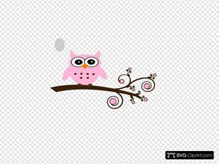 Pink Owl On Branch SVG Clipart