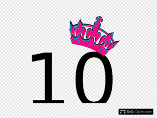 Pink Tilted Tiara And Number 10 Clipart