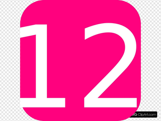 Hot Pink, Rounded, Square With Number 12