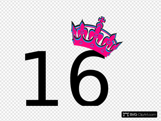 Pink Tilted Tiara And Number 16
