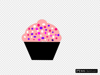Black, Puple, And Pink Cupcake Clipart