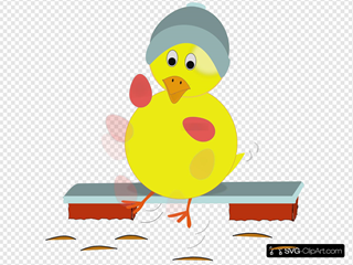 Easter Chick Kicking Eggs