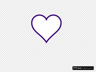 White Heart W/ Purple Outline