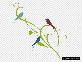 Birds On A Branch Purple And Teal - One Branch