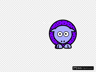 Sheep - Purple With Black Polka-dots And Blue Feet Wider Body