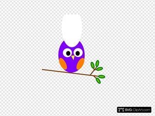 Purple Orange Owl Clipart