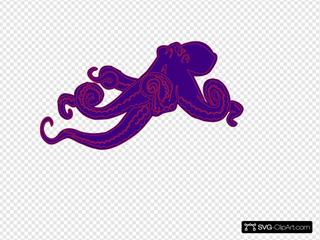 Purple Octopus SVG Clipart
