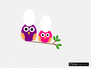 Big And Little Pink And Purple Owls