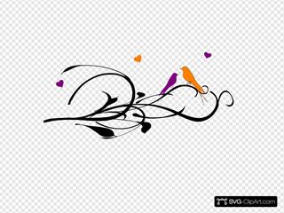 Purple Orange Lovebirds