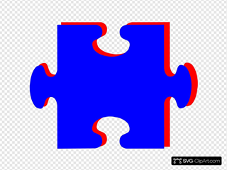 Puzzle Piece Blue With Red SVG Clipart