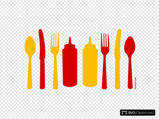 Orange And Red Utensils And Ketchup Mustard Bottles