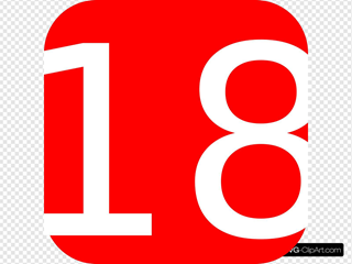 Red, Rounded, Square With Number 18