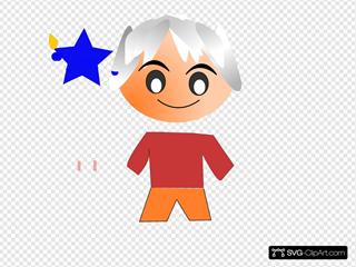White Hair Cartoon Character