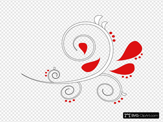 White And Red Paisley Swirl Outline