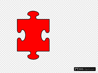 Puzzle Piece Red With Black