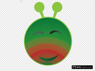 Smiley Green Alien Red