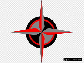 Red, Black, Silver, Compass