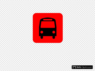 Bus Station Icon Black Red