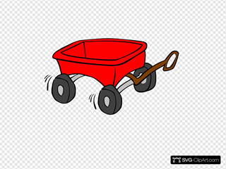 Little Red Wagon SVG Clipart