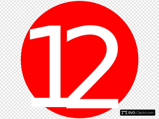 Red, Rounded,with Number 12