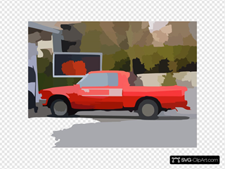 Old Red Nissan Pickup Truck At Gas Station Vector