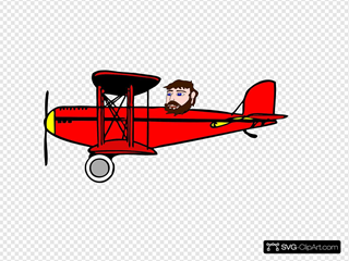 Red Biplane With Head