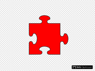 Red Border Puzzle Piece SVG Clipart