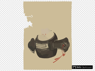 [mouse, Facing Front, Sitting On A Mallet With Red Ribbon Through A Hole In The Handle]