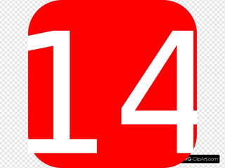 Red, Rounded, Square With Number 14