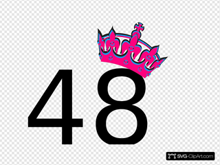 Pink Tilted Tiara And Number 48