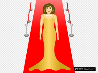 Woman Standing On The Red Carpet