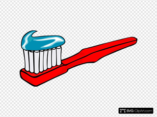Toothbrush With Toothpaste SVG Clipart