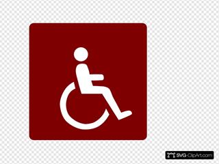Hotel Icon Wheelchair Access Clip Art - Red/white