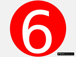 Red, Rounded,with Number 6