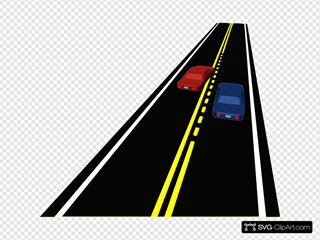 Road With Passing Zone & Cars