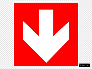 White Arrow With Red Background - Down