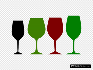 Red And Green Wine Glasses