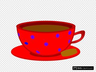 Red Cup, Saucer, Blue Polka Dots