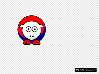 Sheep Looking Red White And Blue