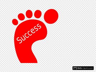 Red Footprint Success Clipart